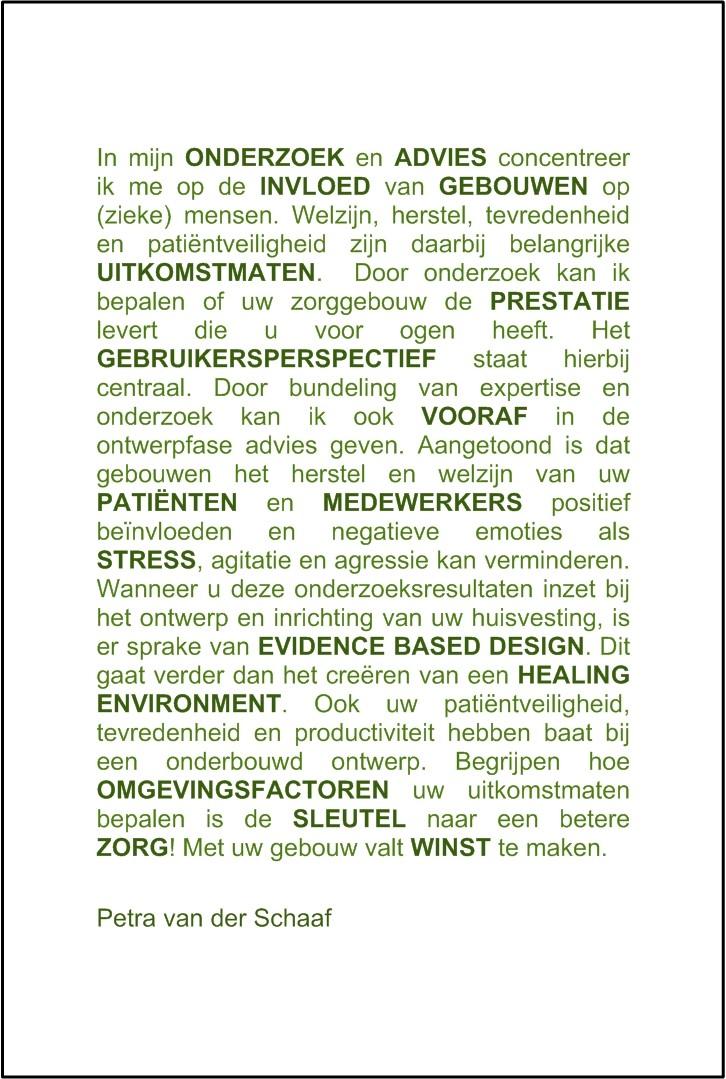 Visitekaartje Diensten Oazis - Onderzoek & Advies - Evidence Based Design - Gouda